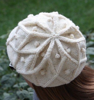 617e533a21f ... reduced free knitting pattern for rangoli cable beret slouchy hat with  design based on lotus design
