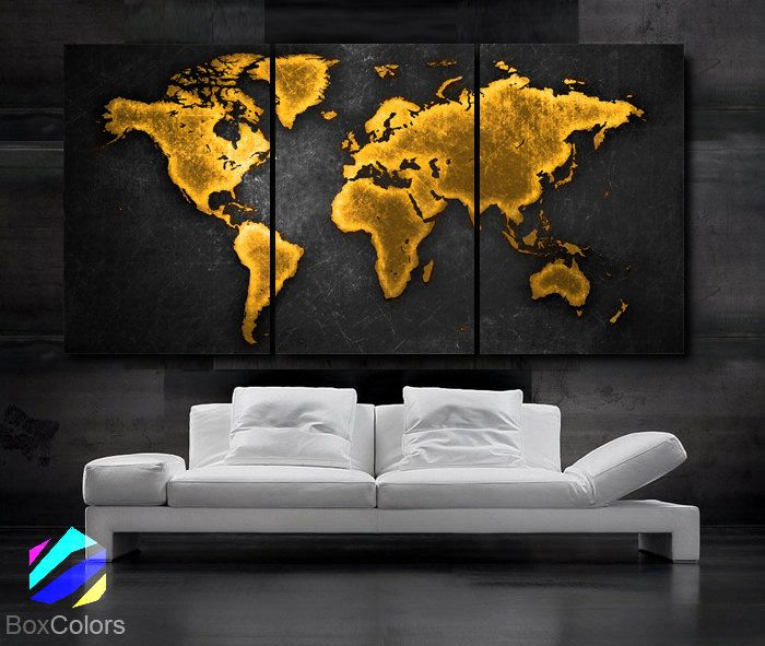 LARGE 30x 60 3 Panels Art Canvas Print World Map tone Gold Brown