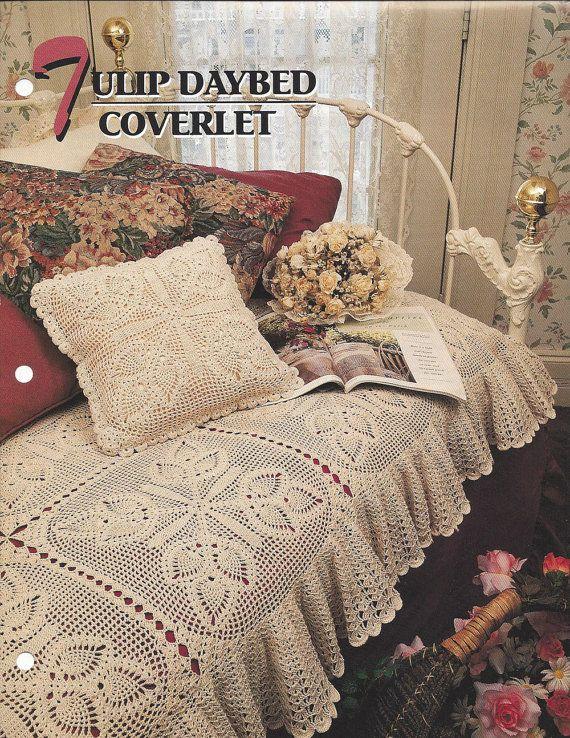 Crochet Blanket Pattern Tulip Daybed Coverlet & Pillow, Pineapple ...