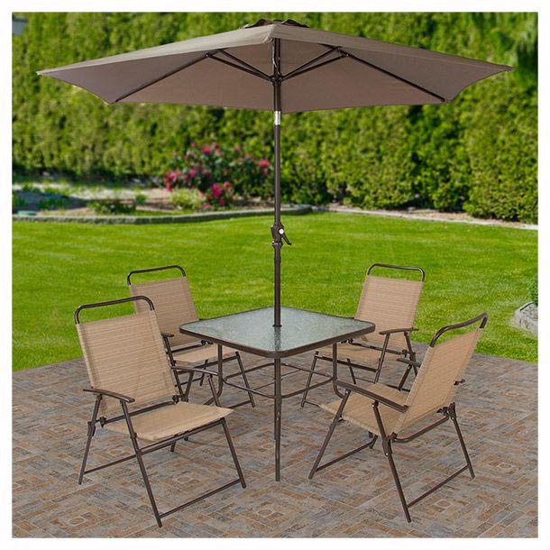 Juego de jardín, incluye: 4 sillas plegables con pasa manos, 1 mesa de vidrio templado y sombrilla.