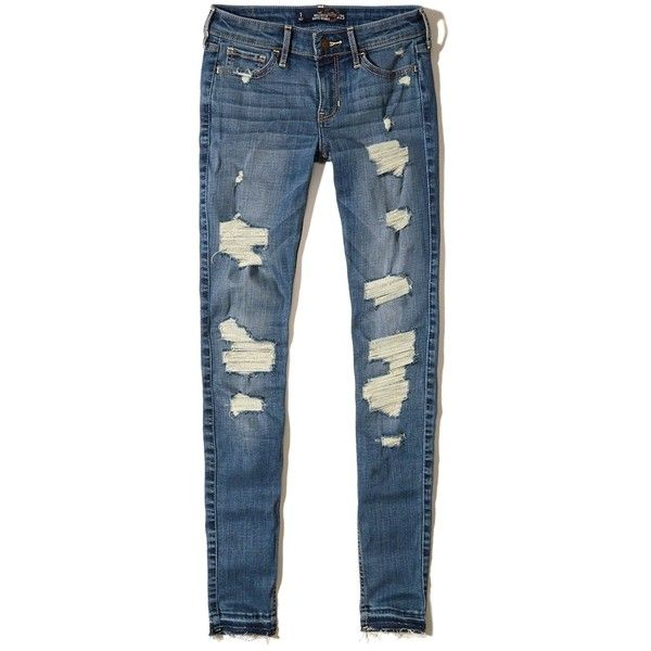 Hollister Shredded Low Rise Super Skinny Jeans 60 Pab Liked On Polyvore Featuring Jeans Super Skinny Ripped Jeans Super Skinny Jeans Low Rise Skinny Jeans