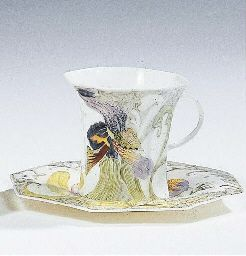 An egg-shell porcelain cup and saucer, 1909-1910