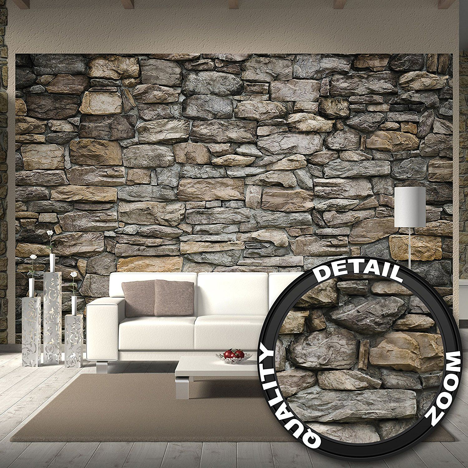 Grey Stonewall Photo Wallpaper – XXL Mural Stonewall