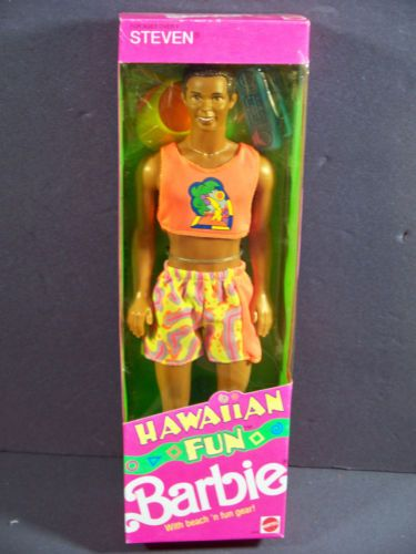 NIB-BARBIE-DOLL-1990-HAWAIIAN-FUN-STEVEN-BLACK-AA-AFRICAN-AMERICAN
