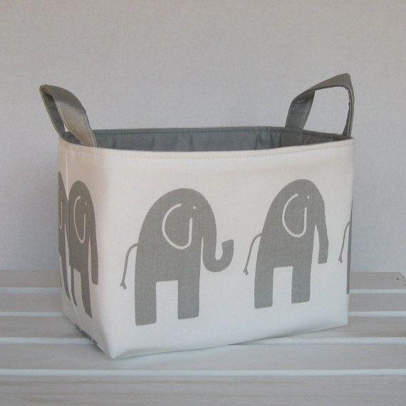Attrayant Fabric Organizer Storage Bin Basket Bucket Container Basket   Ele Elephant    Gray On White