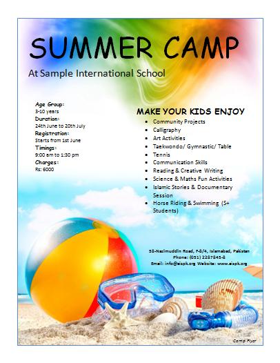 12 Free Summer Camp Flyer Templates Summer Camp Fun Math