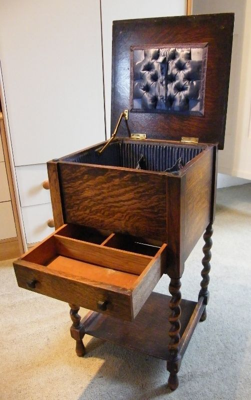 Vintage Wooden Sewing Box Cabinet With Barley Twist Legs