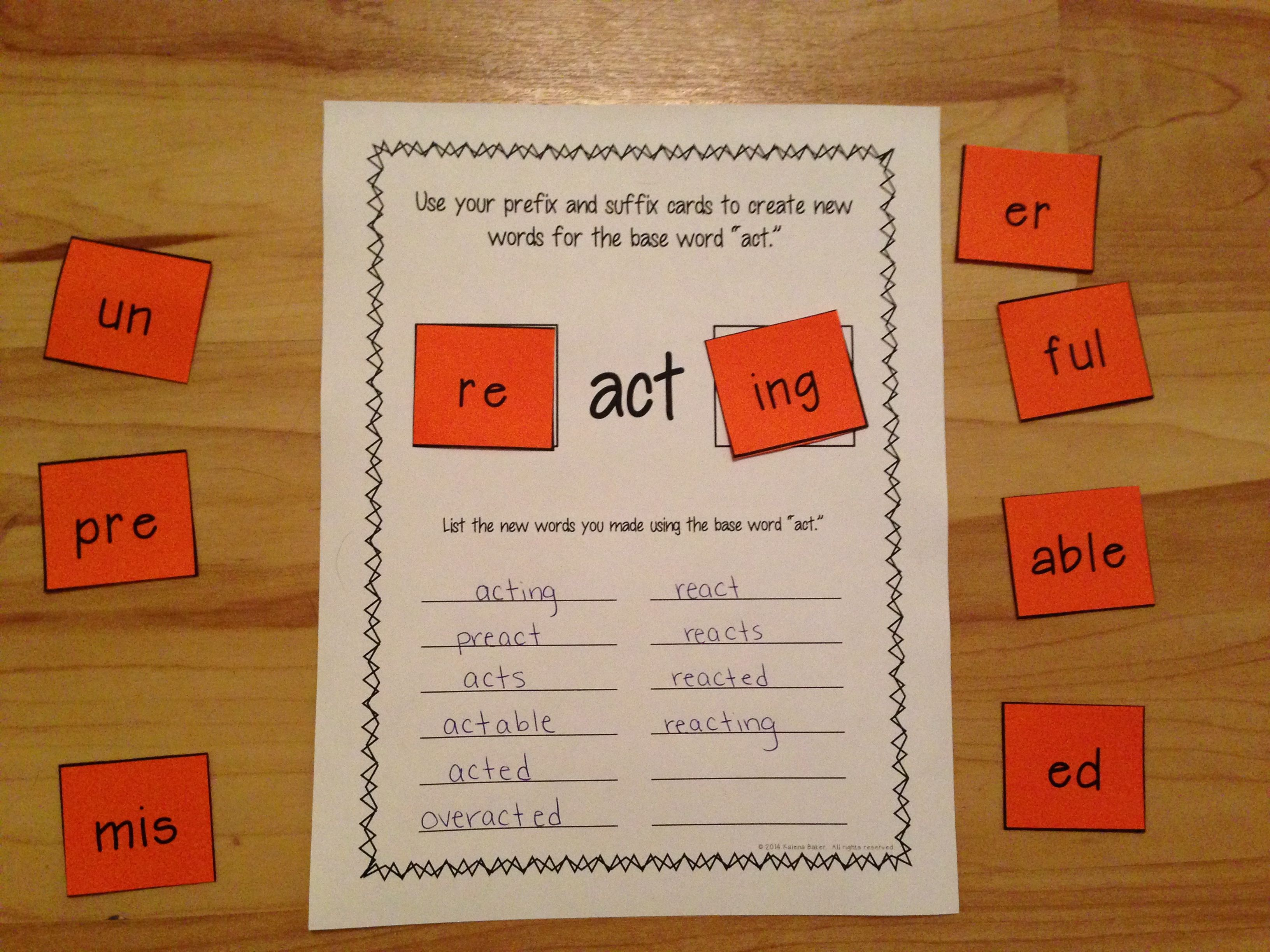 Prefixes And Suffixes Center Activity Building Words Prefixes