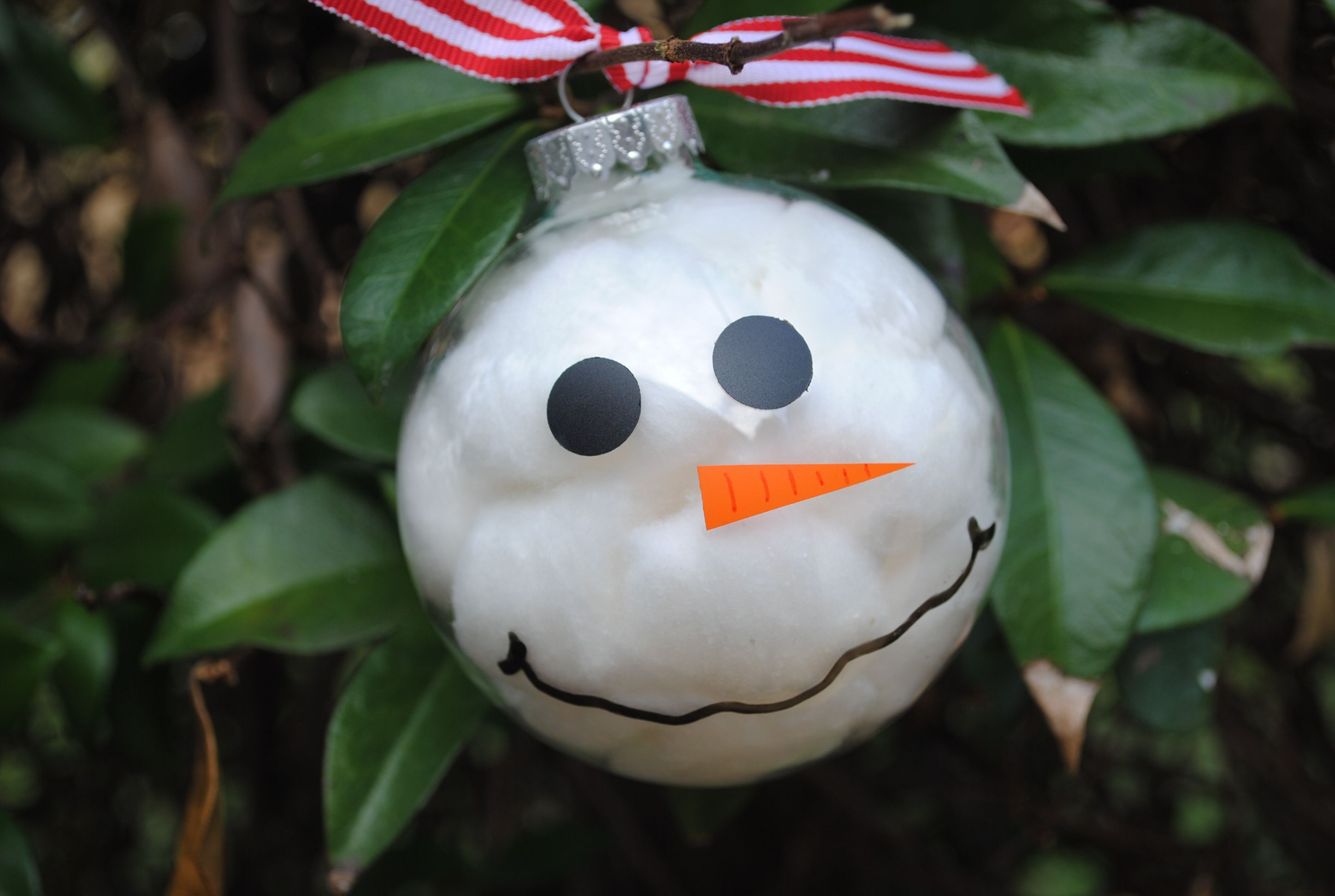 DIY ornament... fill clear glass ball with cotton balls
