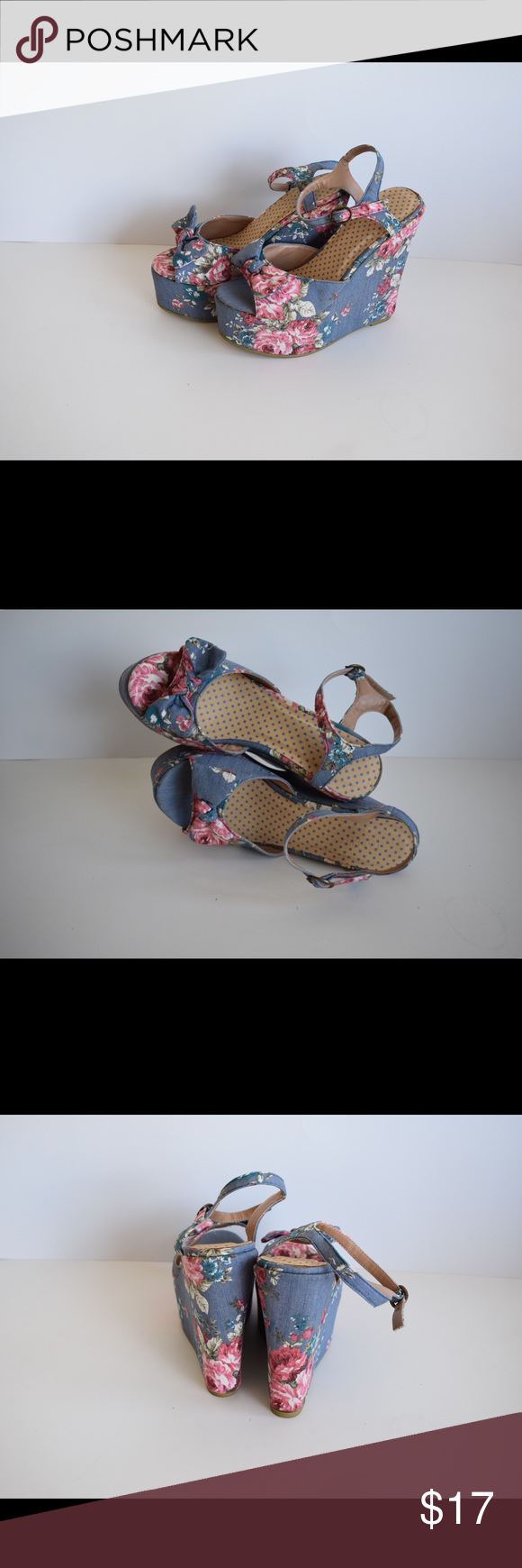 5208ae510746 NWT Forever 21 Denim Blue Floral Wedges Size 8 New and unworn Forever 21  Denim Blue and pink flower wedges. Open toe. Size 8. NWT Forever 21 Shoes  Wedges