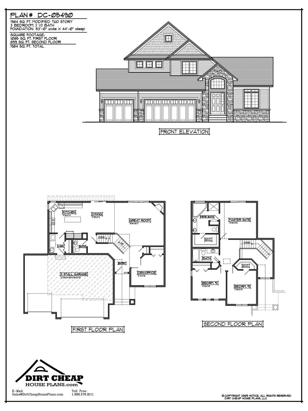 two story house plans with basement dc 05490 modified two story full basement inexpensive house plans house plans 6324