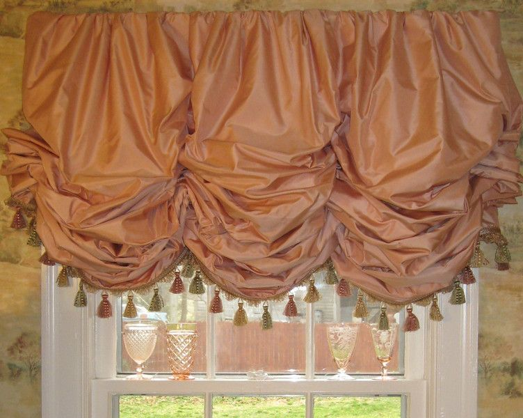 Wonderful Coral Silk Gathered Balloon Shade With Fringe, Lined And Interlined.  Workroom: Camille Moore