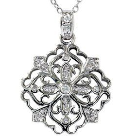 25ct filigree antique diamond snowflake pendant necklace jewelry 25ct filigree antique diamond snowflake pendant necklace aloadofball Choice Image