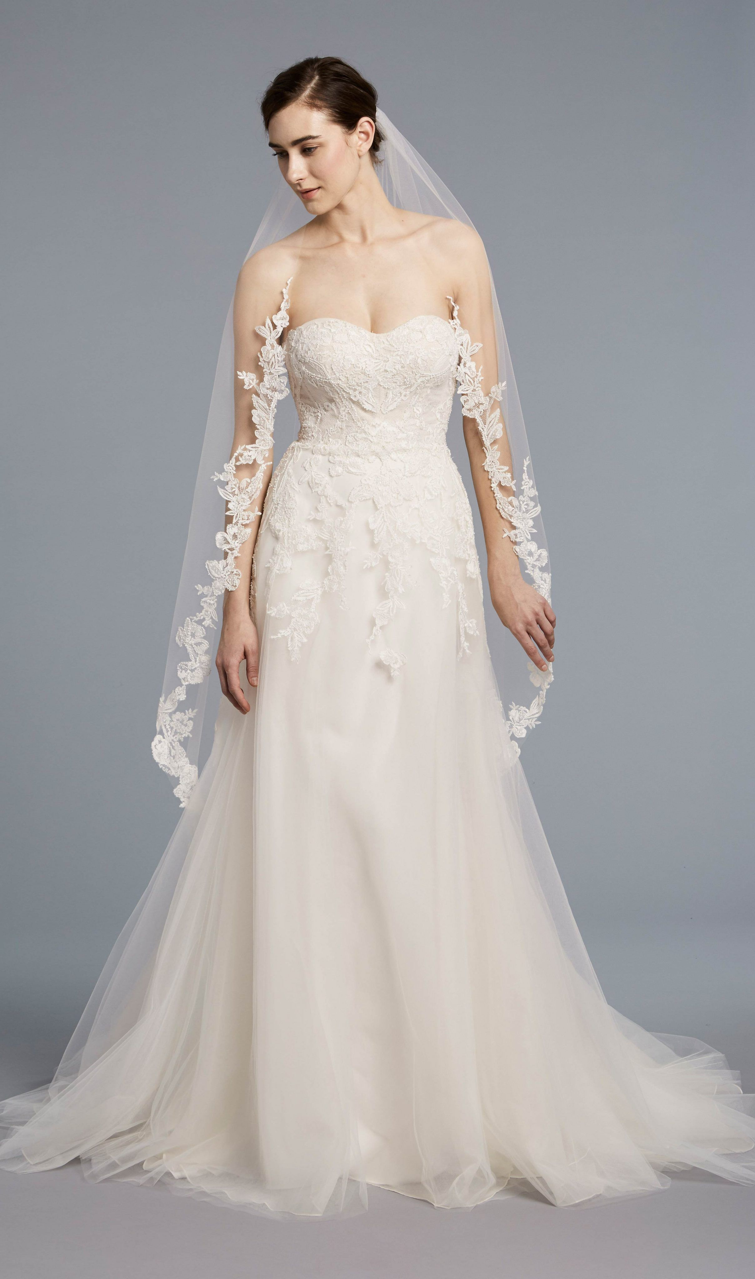 Woodland wedding dress  Strapless sweetheart Aline gown with embroidered bodice and tulle