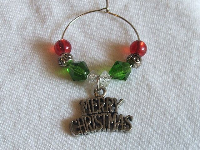 Christmas Theme ~ wine glass charm my creations Pinterest