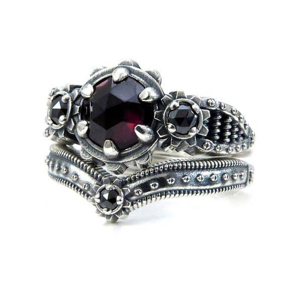 ladies steampunk engagement ring set rose cut blood red garnet and