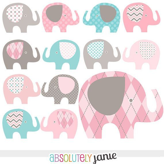 Pink Grey Teal Blue Baby Elephant Digital Clipart Girly Clip ...