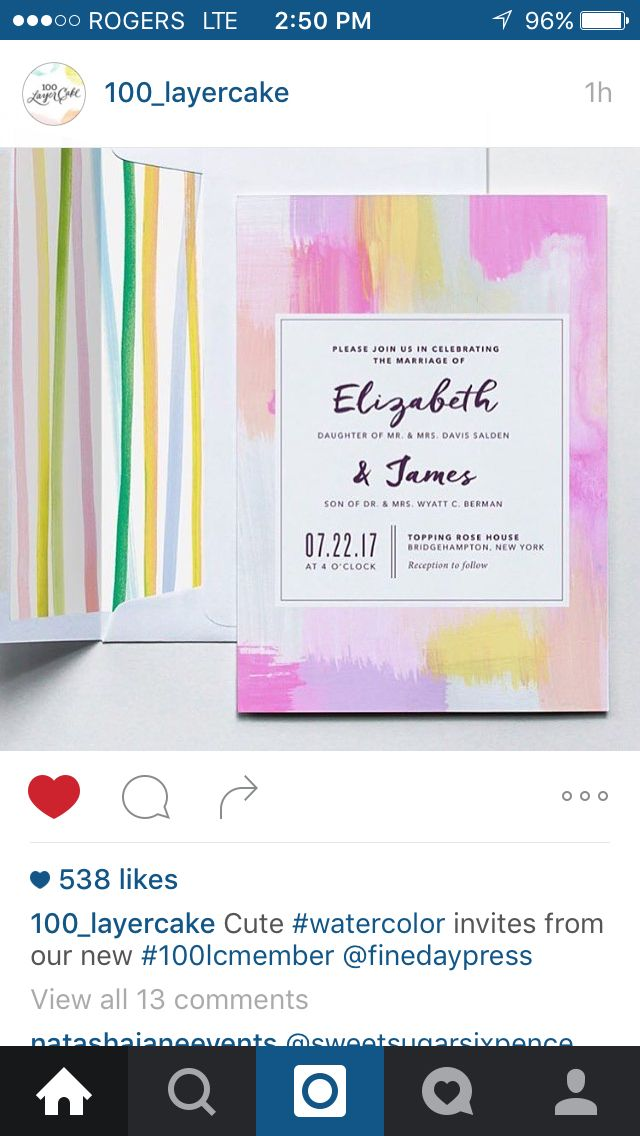 Watercolour design wedding invitations