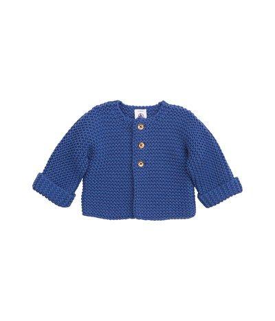 9613e832ef998 Cardigan bébé en tricot point mousse laine et coton bleu Newbleu - Petit  Bateau