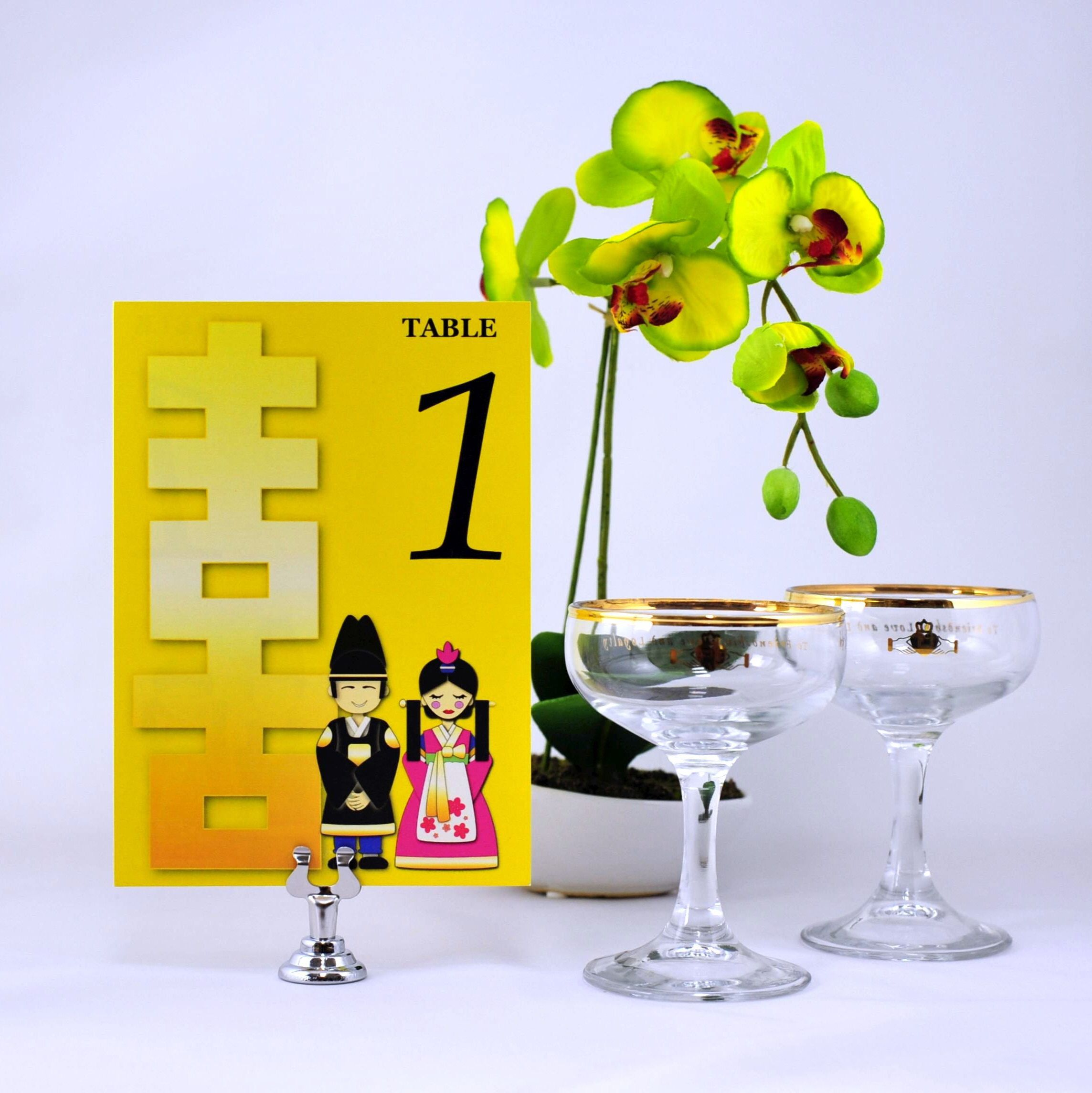 Korean Theme Wedding Reception Table Number Cards Ideas Decorations
