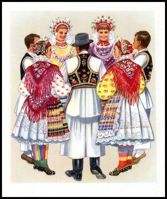 Ethnic National: Croatia Folk Dance Print Croat Slavic Dancers Ethnic Dress