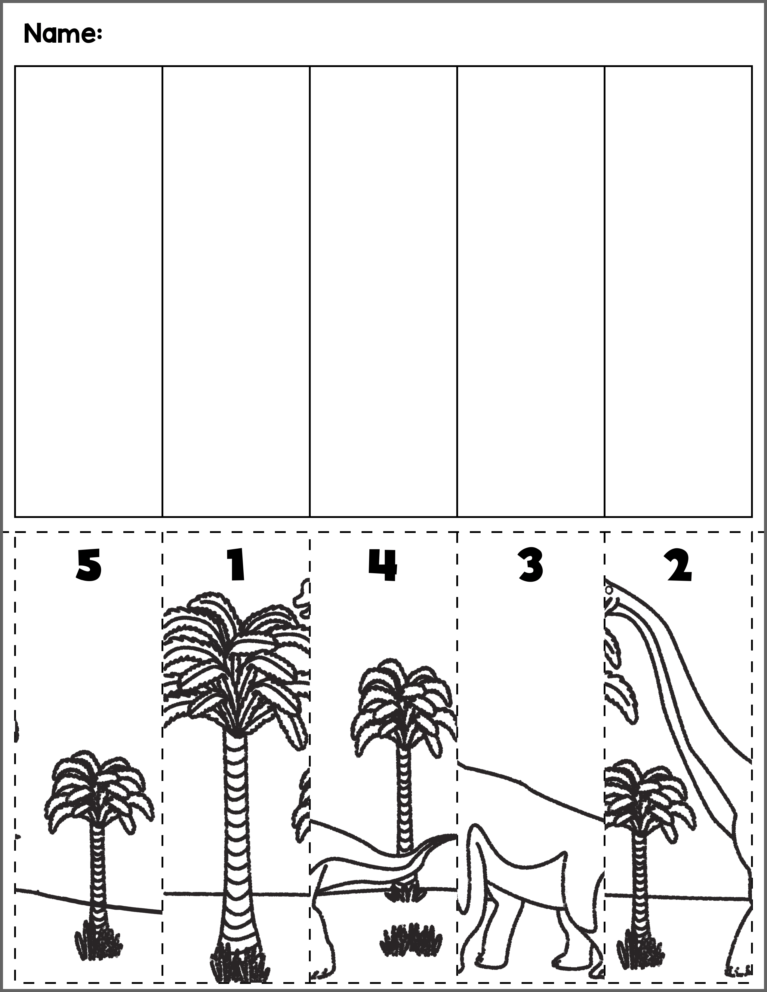 Dinosaur Scene Number Sequence