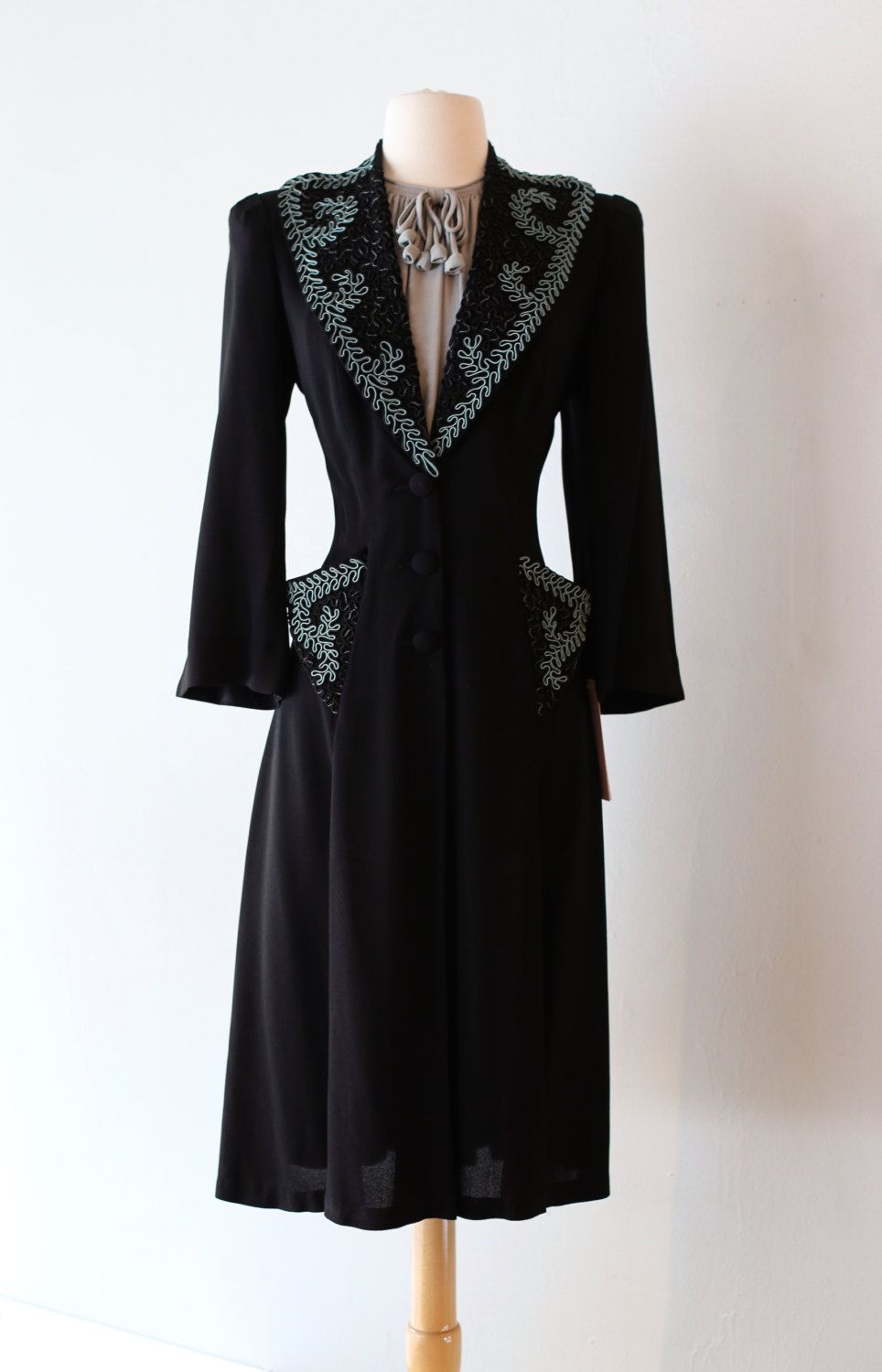 Vintage 1940's Rayon Dress With Dramatic Soutache Collar and Pockets ~ Vintage 40s Rayon Princess Coat Dress Waist 30 by xtabayvintage on Etsy