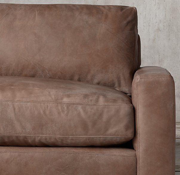 Marvelous The Petite Maxwell Leather Left Arm Sofa Chaise Sectional  Distressed  Whiskey