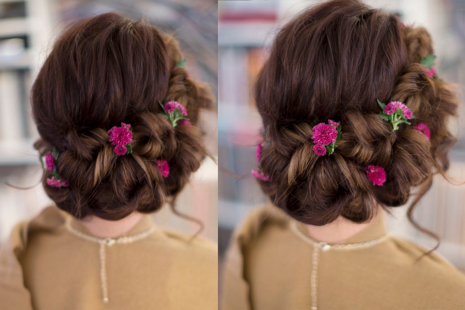 Christmas wedding hair romantic updo hairstyle for long hair