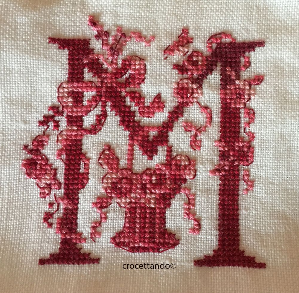 Toile de jouy lettera m cross stitch monograms and stitch