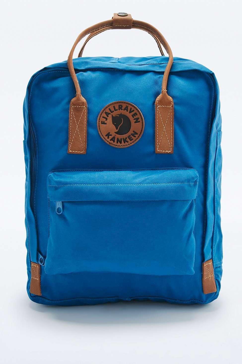 f11474b11a16 Fjallraven Kanken No. 2 Lake Blue and Leather Backpack