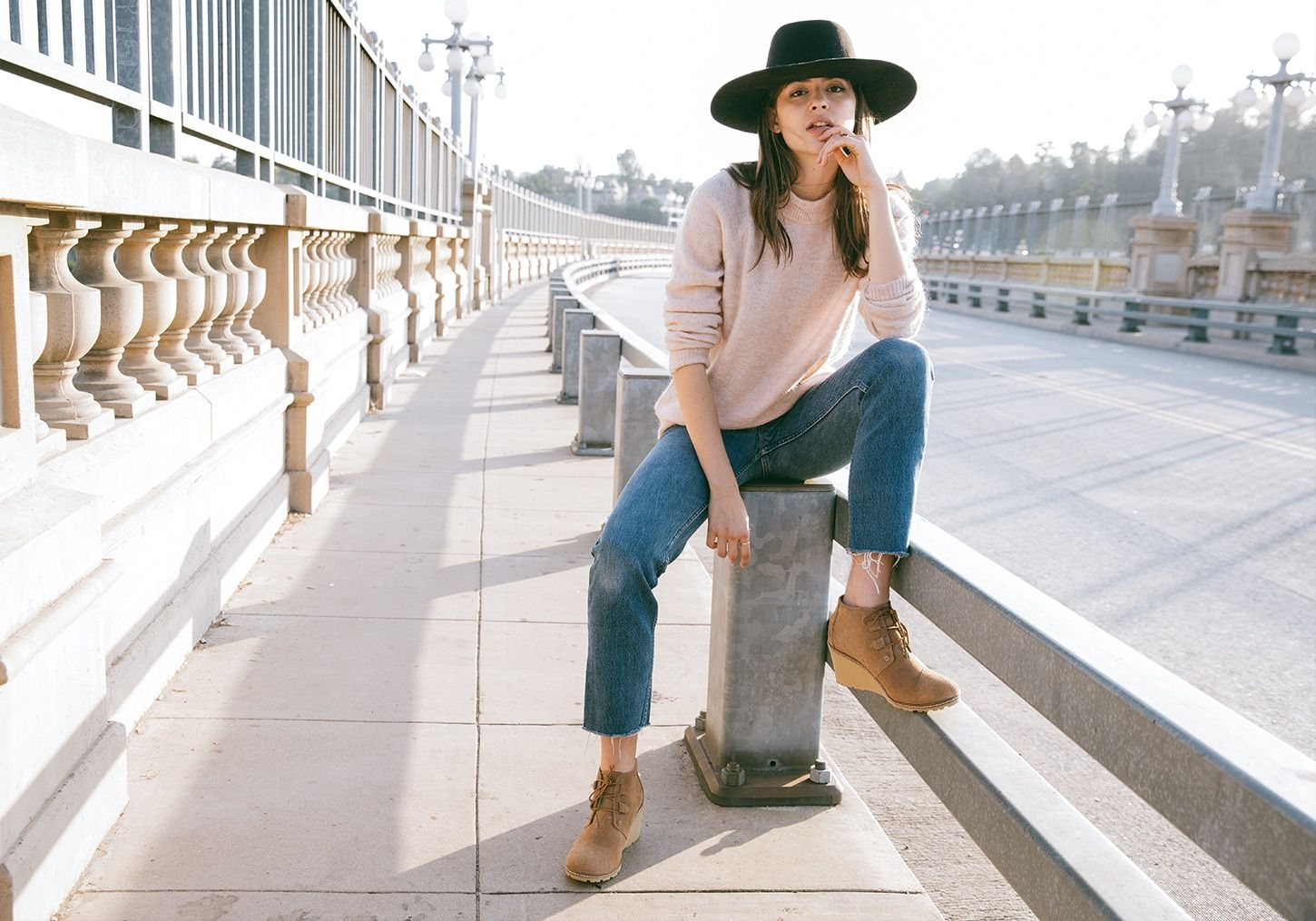 fc9b9b134f1 Tom s toffee suede faux crepe Desert Wedges. A hiking-inspired bootie made  for dates and daytime outings. 7.5