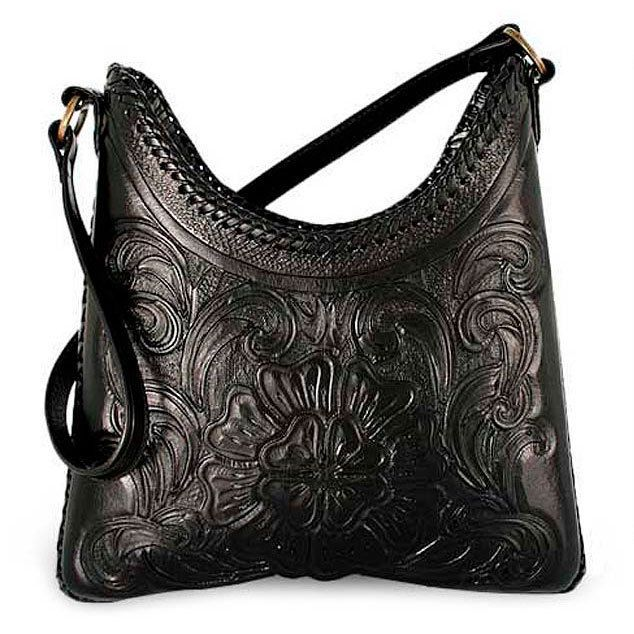 New Hand Tooled Genuine Leather Bag Shoulder Purse Floral Satchel Wallet Mexico