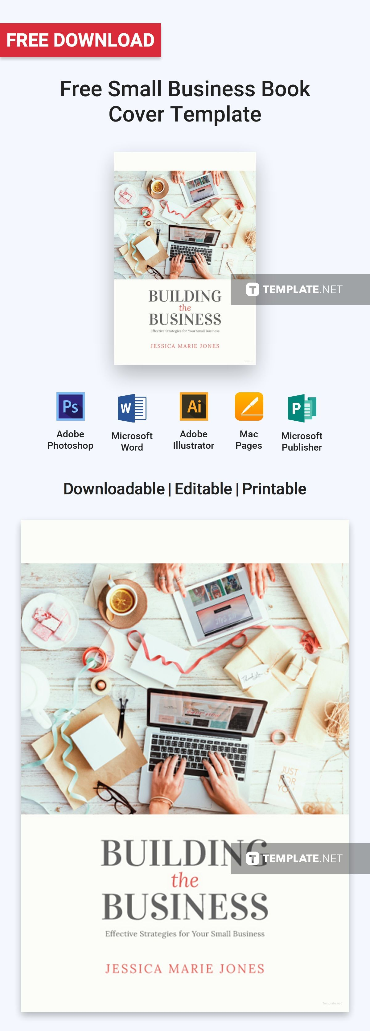 Book Cover Template For Apple Pages ~ Free small business book cover book covers template and business