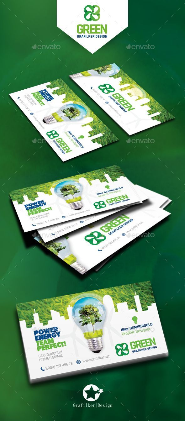 Green energy business card templates reheart Images