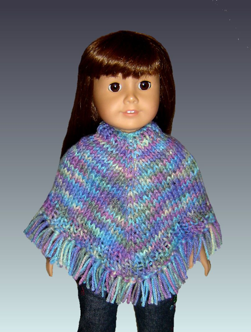 Easy poncho knitting pattern, fits American Girl and 18 inch Dolls ...