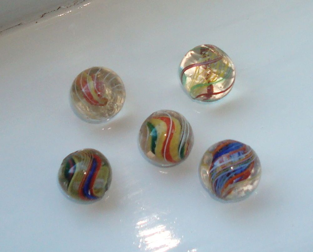 Group Of 5 Victorian Marbles All Pontilled Marble