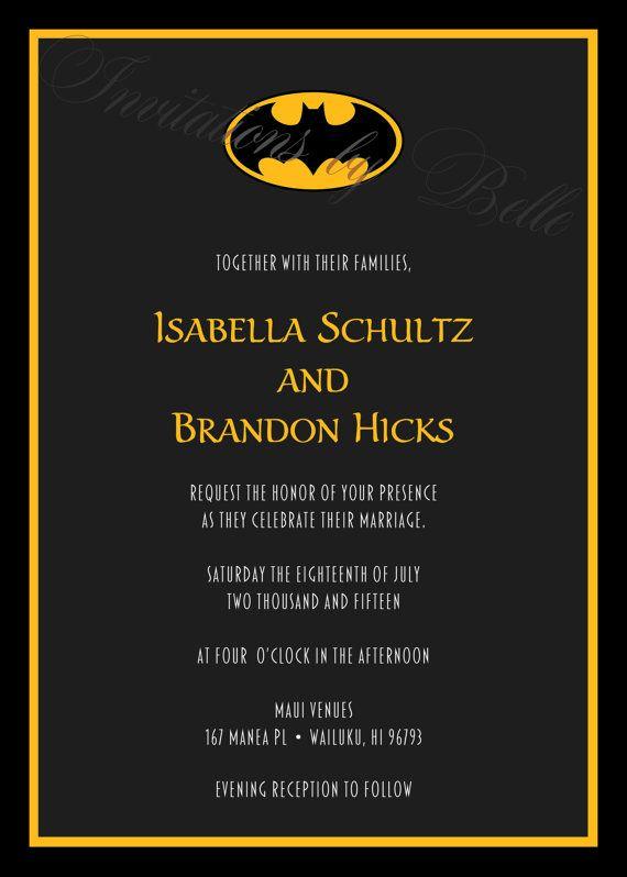 Batman Symbol Wedding Invitation Set Bat Dc By Invitationsbybelle