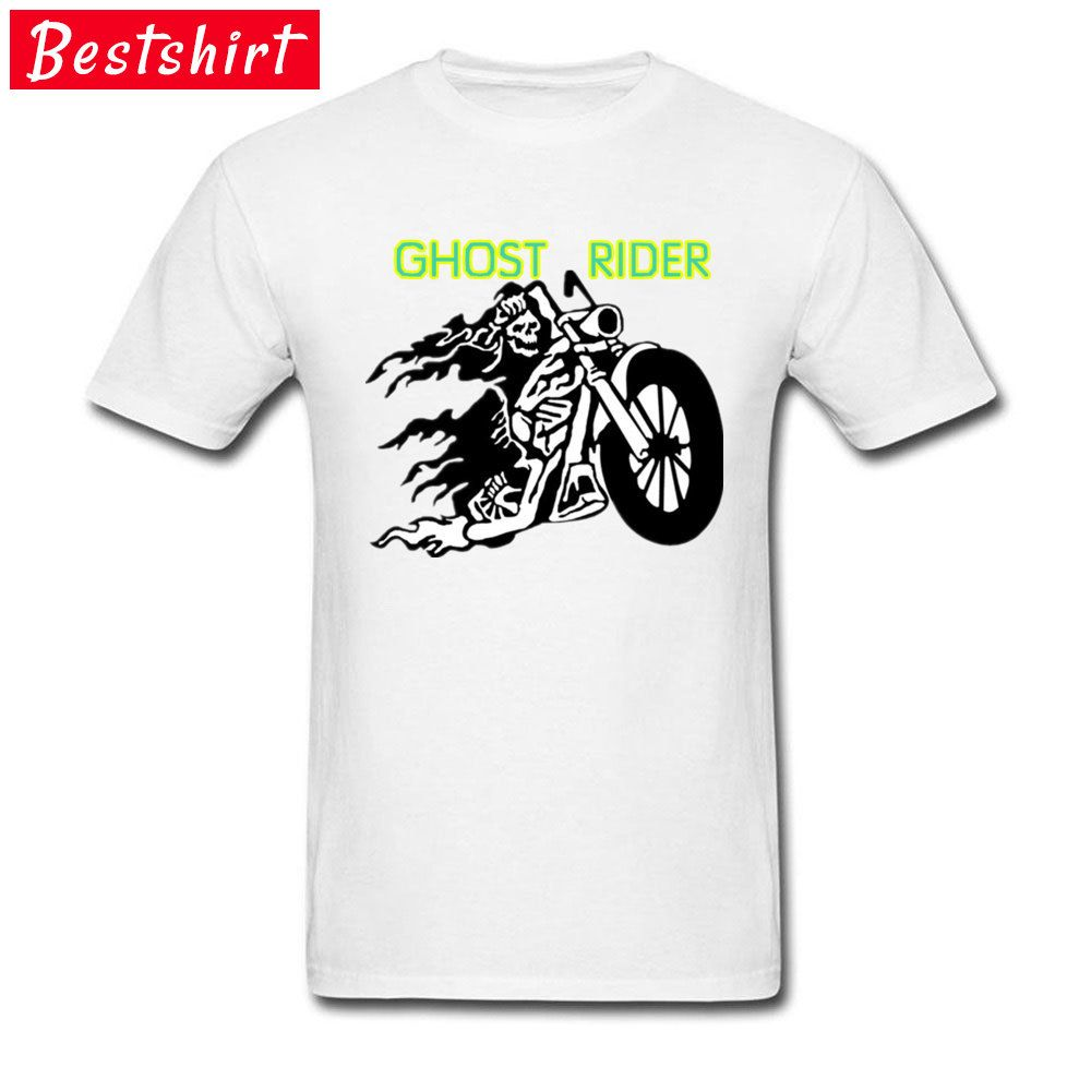 fb3a7f90 $8-$12 Men Cool Tees Grim Skull Ghost Rider Motorcycle Gothic T Shirt  Printed On Geek Heavy Metal Rock Band Tshirt For Men Youth Cotton