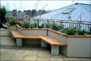 Built In Benches Of Beauty My Home Rocks Roof Garden Design Terrace Garden Design Rooftop Design