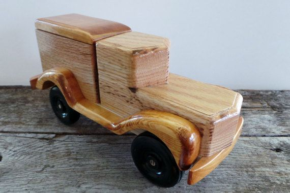 Wooden Toy Truck- Panel Truck with Detachable Lid-Truck Penny Bank-Keepsake Box
