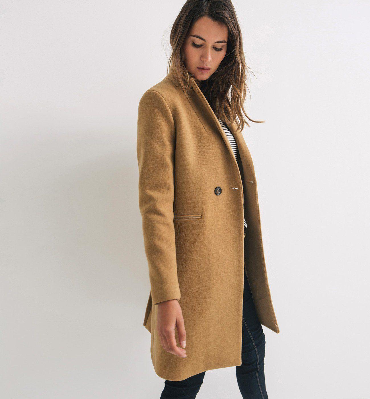 Manteau en laine mélangée Camel Manteaux Femme Promod