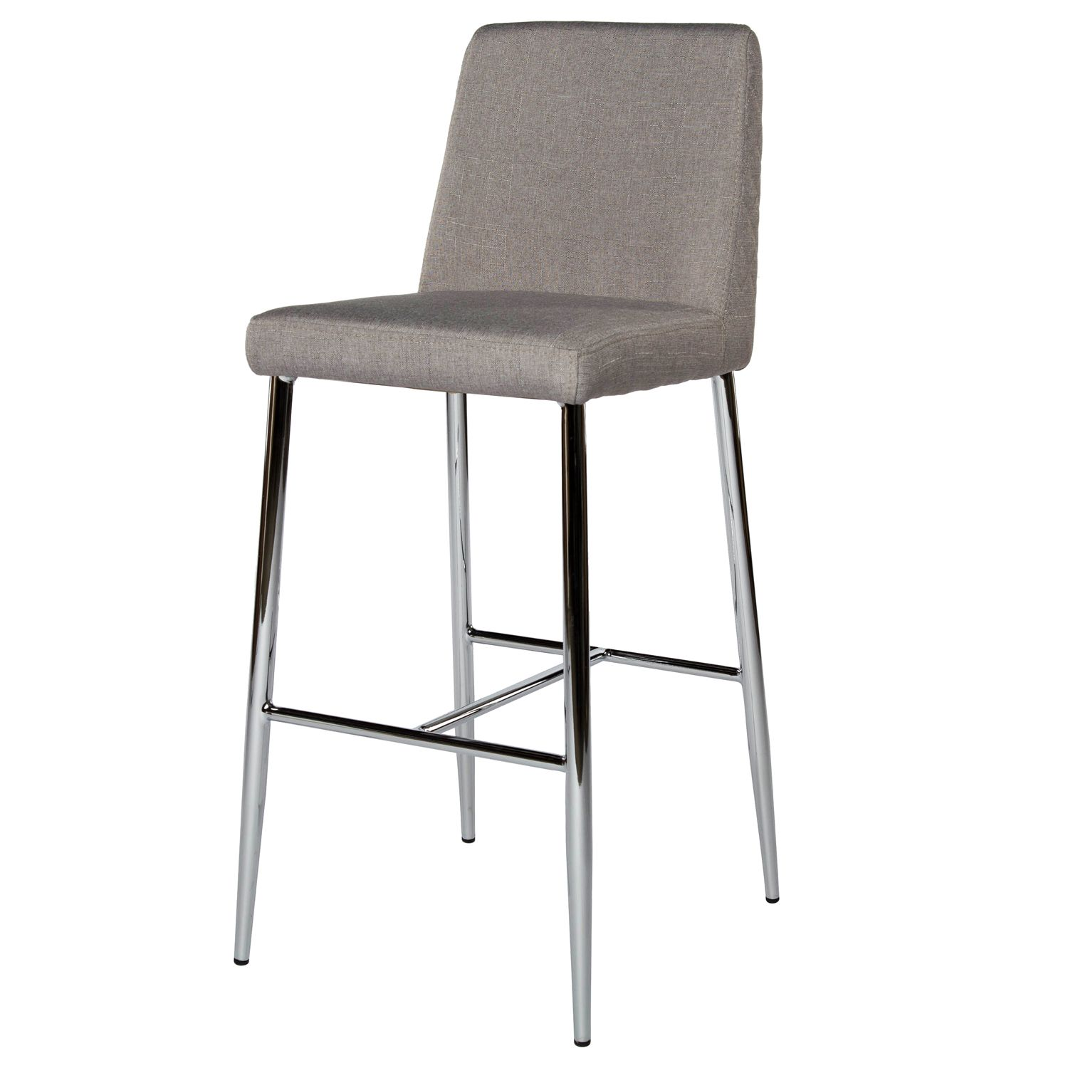 Light Grey Fabric Covered Counter Height Bar Stool With Quilted Back Design Taper Chrome Metal Legs Non Swiv Modern Counter Stools Counter Stools Stool