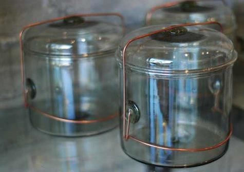 small glass jars for storing coffe or tea by Peter Ivy