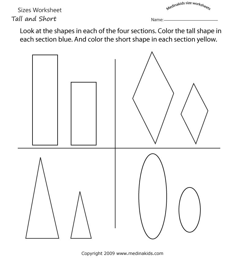 medinakids tall and short worksheet | measurements | Pinterest ...
