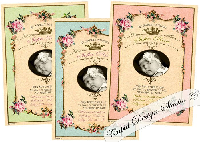 New to CupidDesigns on Etsy Pink and gold Birth announcement card – Baby Announcement Cards Etsy