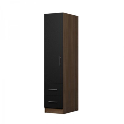 Marcano 1 Door Corner Wardrobe 17 Stories Colour Walnut Black Corner Wardrobe Tall Cabinet Storage Buy Wardrobe