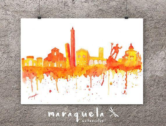 Bologna Skyline orange hues, watercolor, skyliner Bologna ...