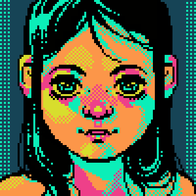 Pixel Art Pop Color Girl Face Human Icarus By Corrot Piq