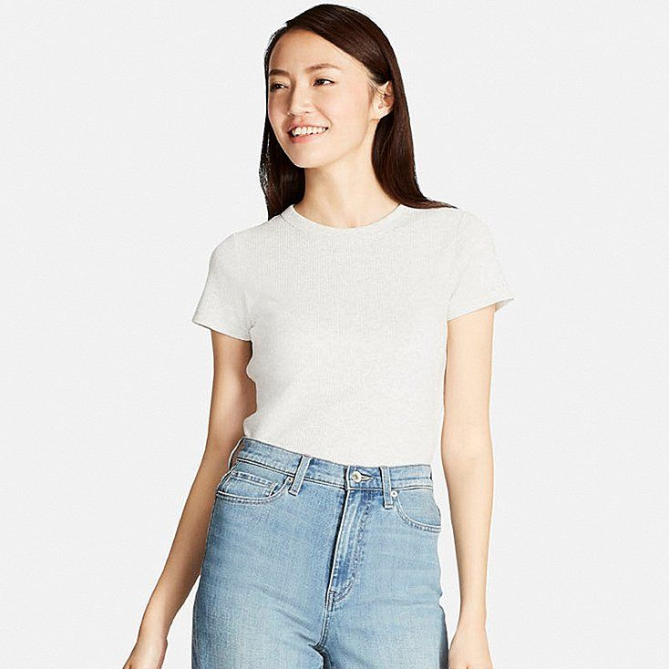 3a6a62733b1f Shop online for WOMEN Supima® COTTON RIBBED CREW NECK SHORT SLEEVE T-SHIRT  at UNIQLO US.